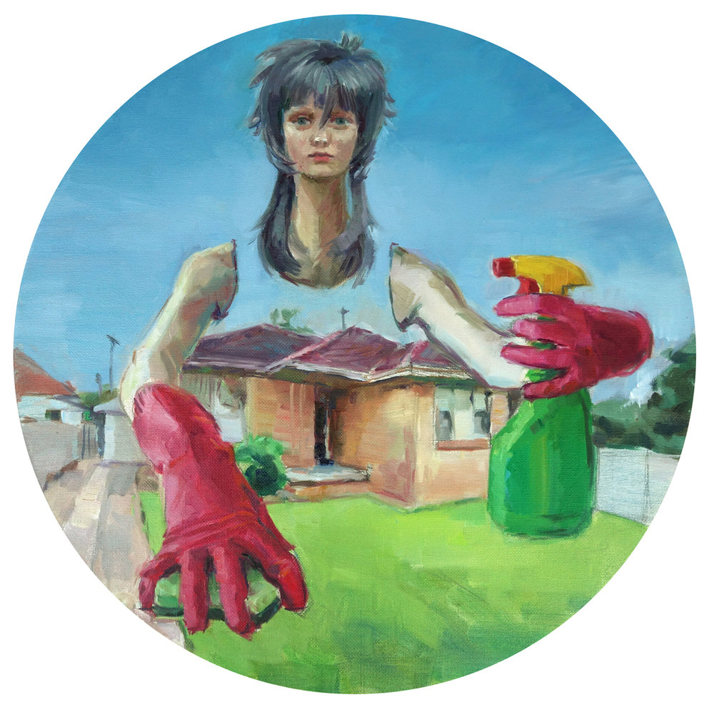 'The green grass of home' 40cm diameter, oil on canvas