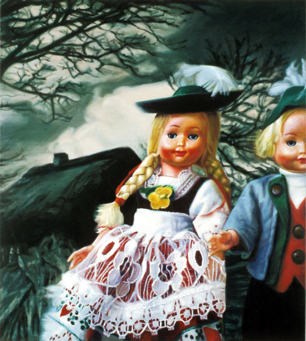 'Little Playmates Erika and Rolf by the house in the woods' 130x120cm, oil on canvas (Collection Art Gallery of South Australia)