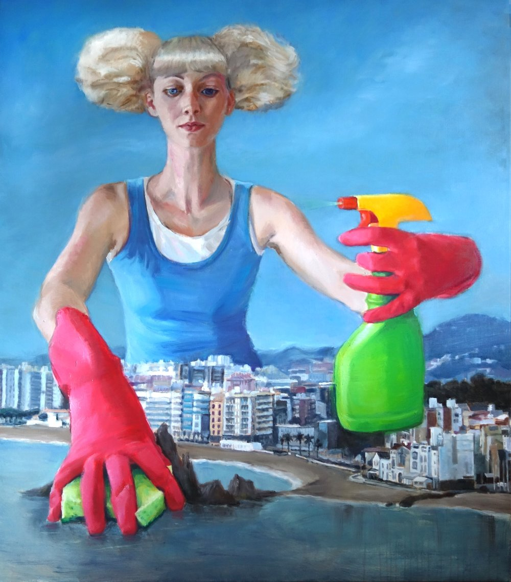 'Even on weekends she made sure to wash the dishes and clean the sink' 180x160 cm, oil on linen