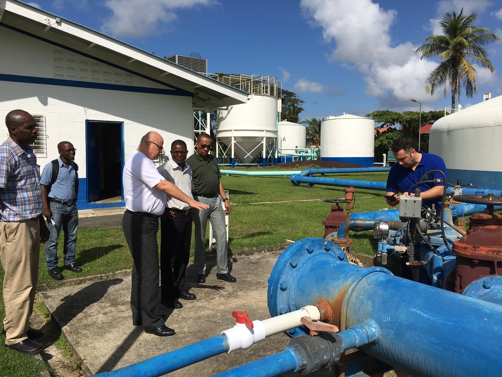 GHTE Team on a site visit to Guyana Water Inc. Water Treatment Plant at Eccles to discuss designing a solar power energy system for the plant.