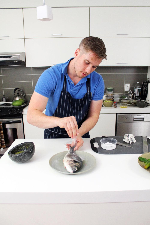 Chef Scott Roberts in the EAF test kitchen