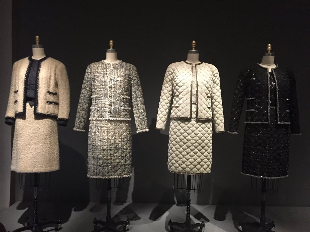 "Left: designed by Gabrielle ""Coco"" Chanel, 1963-68, haute couture; all others: Karl Lagerfeld for House of Chanel, A/W 2015-16, haute couture"