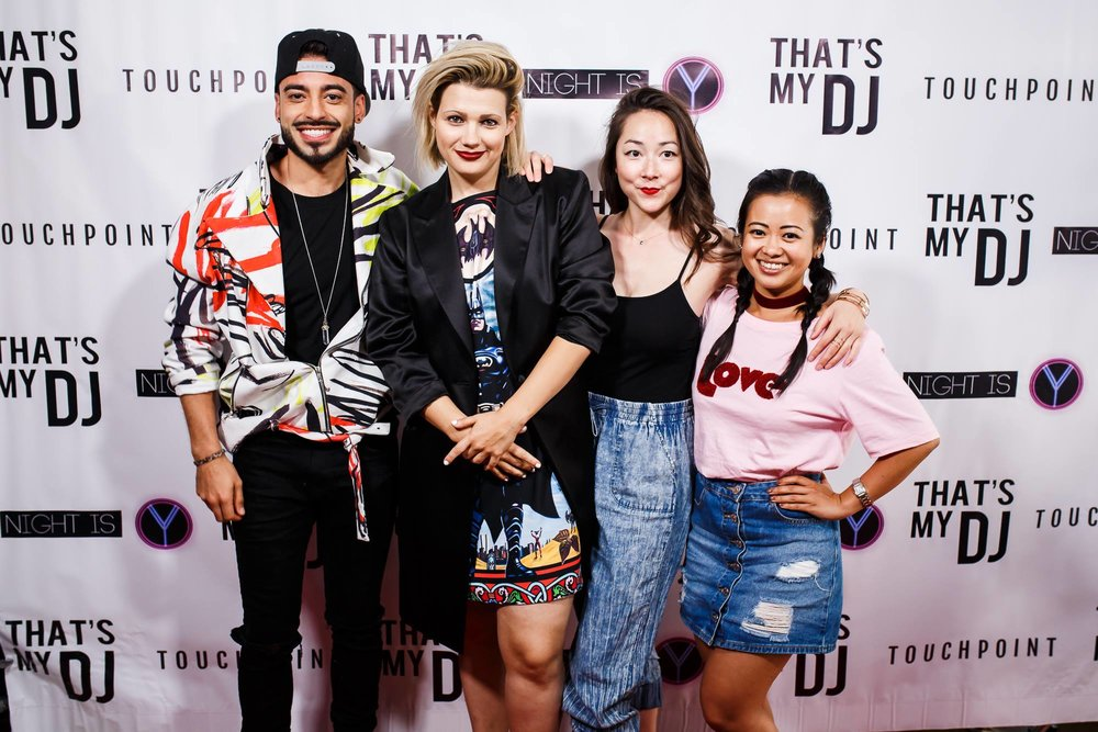 Amira working the official launch of the third and final season of award winning web-series That's My DJ (with Director D.W. Waterson, Actor Jade Hassoune and Actress Emily Piggford).