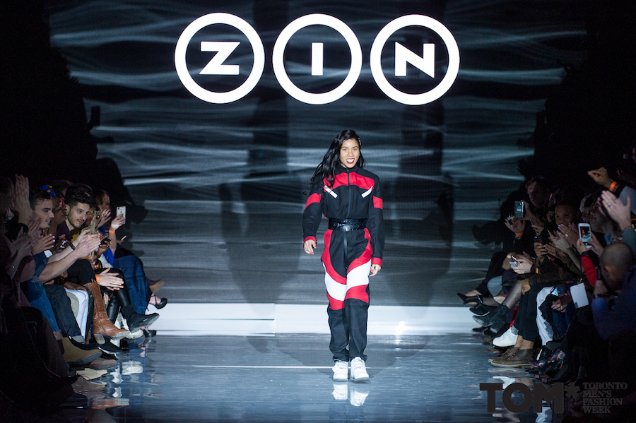 Here's a peak at what to expect from ZIN's womenswear line - Stephanie debuted this one-piece suit on the runway at TOM*FW. Photo credit: Che Rosales c/o TOM*FW