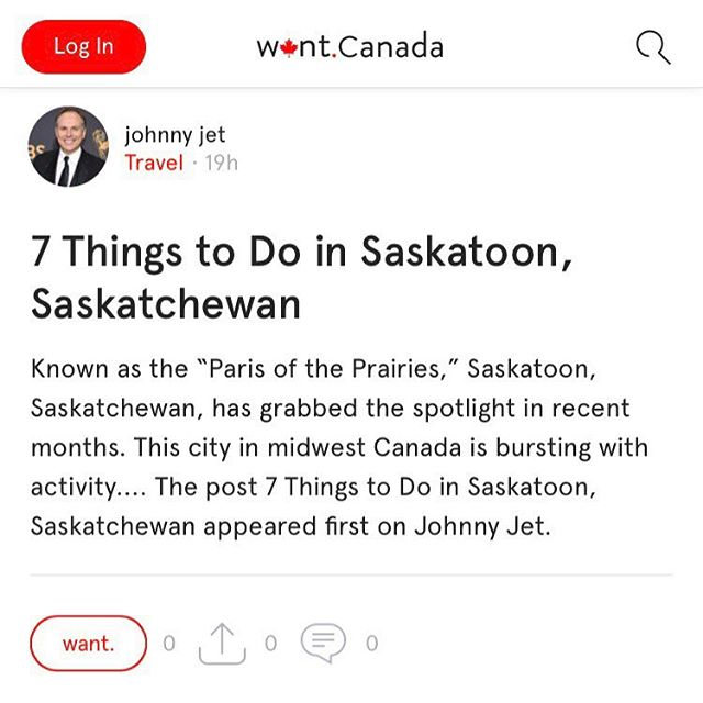 7 Things to do in Saskatoon, Saskatchewan. Reading on trusted travel blog by @johnnyjet, featured on the @want.canada app. #wantcanada . . . . . . #travel #travelblog #travelblogger #instatravel #travelstagram #adventure #journey #escape #vacation #wanderlust #travelgram #traveller #travelling #instavacation #igtravel #traveltheworld #travelawesome #bestvacations #travelplans #travelplanning #explorecanada #travelcanada #saskatoon #saskatchewan #johnnyjet