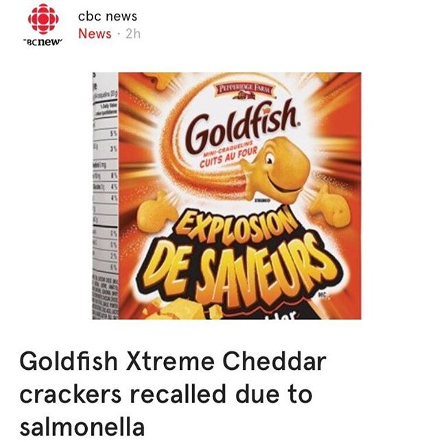 Important PSA: food recall on Goldfish Extreme Cheddar crackers due to salmonella. Came across this on the @cbcnews feed when scrolling through the @want.canada app. #recall #canada #foodrecall #healthandsafety #healthycanadians #salmonella #recallnotice