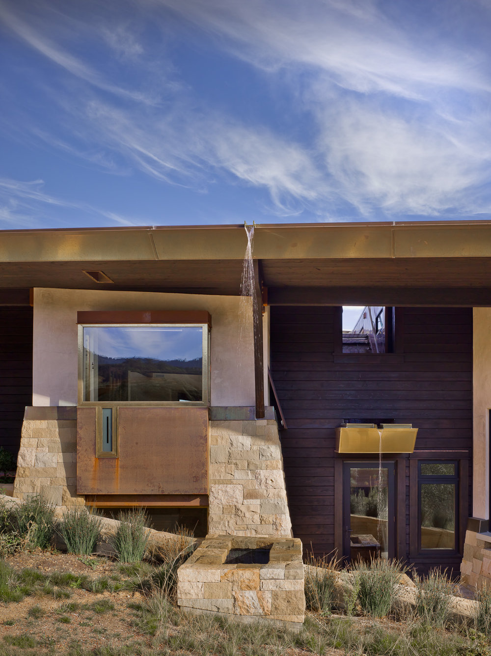 California Residence, House, Sustainability, Nature, Natural Materials, Stone, Wood, Copper
