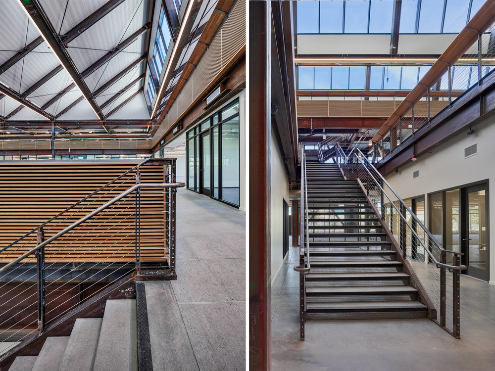 White oak panels and book ledges in the work spaces provide acoustical and visual privacy, while a soundmasking system mitigates conversational distraction.