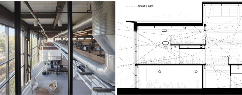 Integrated design provides multiple benefits and increased value. Structural elements and ductwork were coordinated to enhance privacy on the mezzanine while maintaining sight lines to the outdoors.