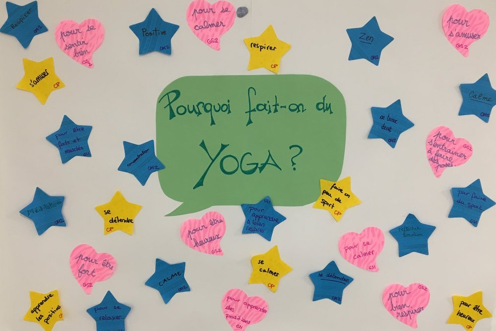 Why do Yoga? A poster at Ecole Jeannine Maneul, London, where Jeni has been teaching Yoga