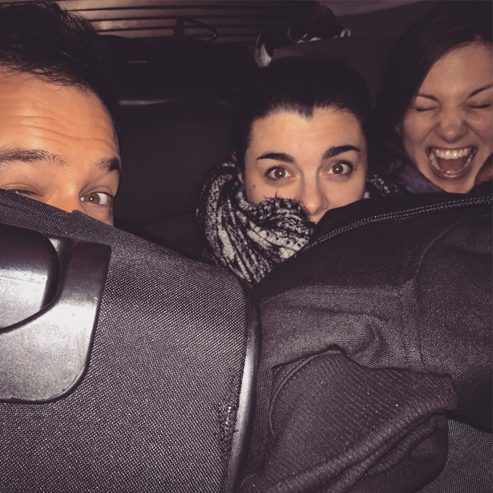 Toby, myself and Laura crammed in Luke's car at the end of our R&D week in the North East