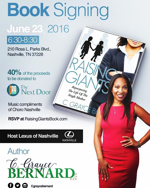 You can Pay It Forward and purchase a book for a worthy cause. A fantastic opportunity to give, network and be a part of elevating the women of the next door program. Broken women can find success too! If you can not physically join us pick up your copy of Raising Giants at raisinggiantsbook.com use code nextdoor #thenextdoor #nashville #cause #booksigning #raisinggiants #lexusofnashville #theconnectmagazine #survivor #greatness #singlemom #momcoach