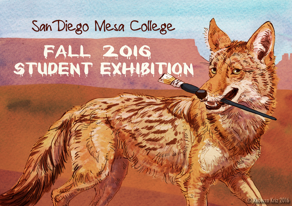 San Diego Mesa College Fall 2016 Student Show Promotional Card   ink, watercolor washes, photoshop 2016  Used on promotional cards, posters, banner, and catalogue cover