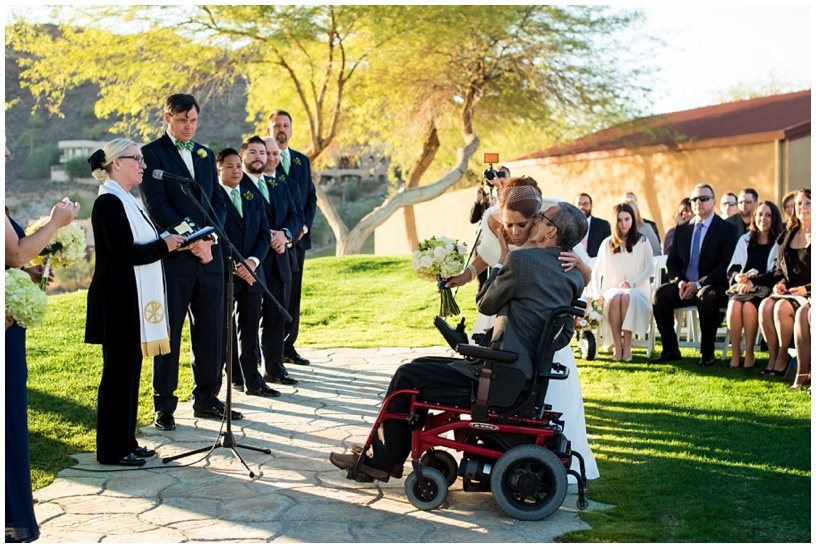 Father giving bride away at Eagle Mountain Golf Club in Fountain Hills, Arizona.