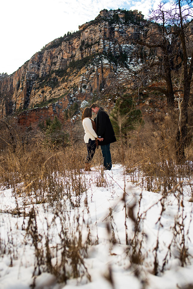 Winter Snow Sedona Engagement Photos at West Fork Trail in Arizona