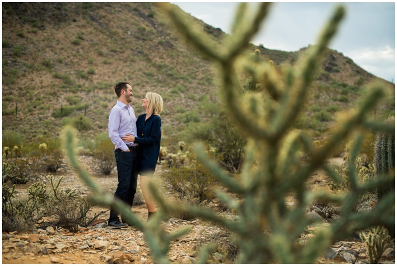 Desert Engagement Photos at Phoenix Mountain Preserve in Arizona.