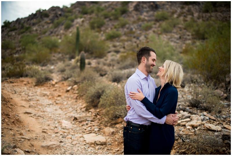 Desert Engagement Photos at Phoenix Mountain Preserve in Arizona.