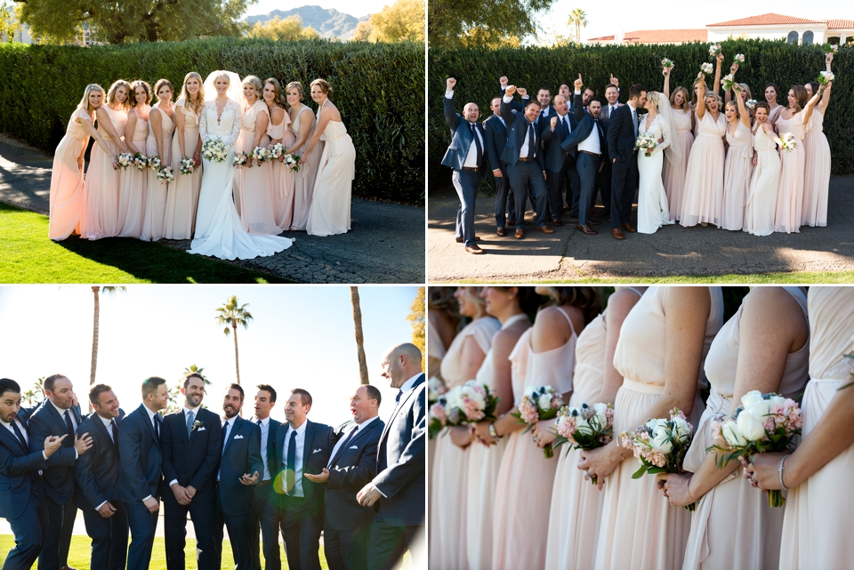 Wedding party photos with bridesmaids in long blush dresses and groomsmen in navy suits.
