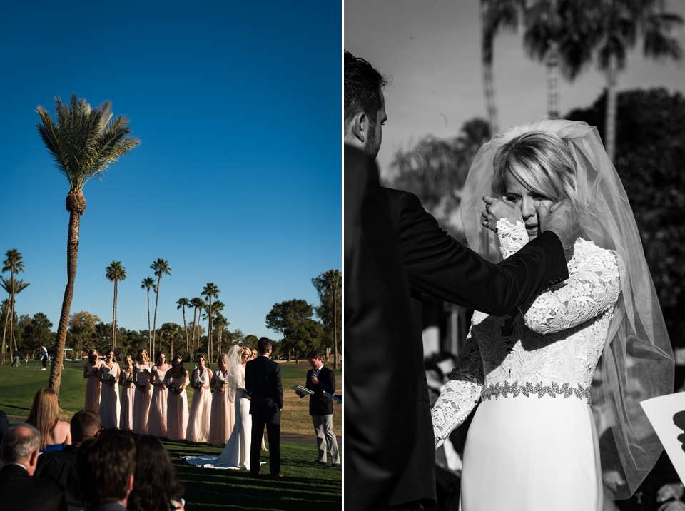 Outdoor wedding ceremony at McCormick Ranch Golf Club in Arizona.