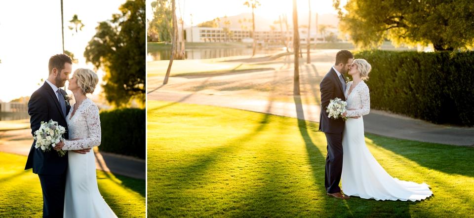 Bride and groom romantic sunset photos.
