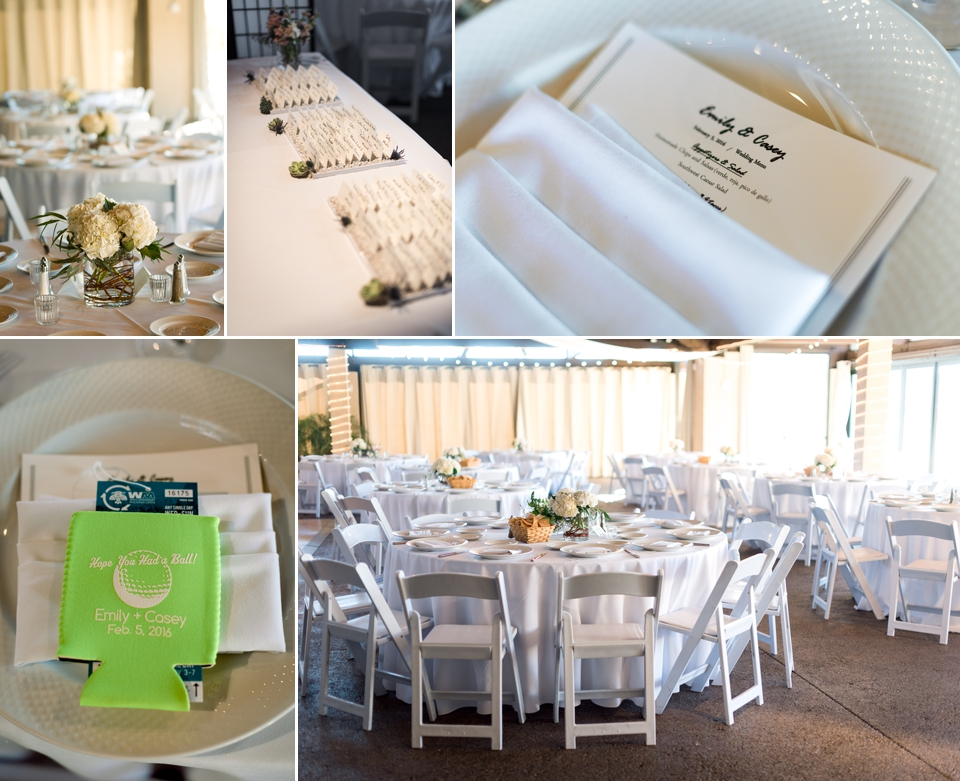 White reception decor with tickets to the Waste Management Open for their guests in custom Cozies