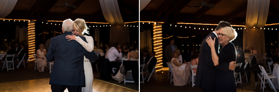 Emotional mother and son and father and daughter dances.