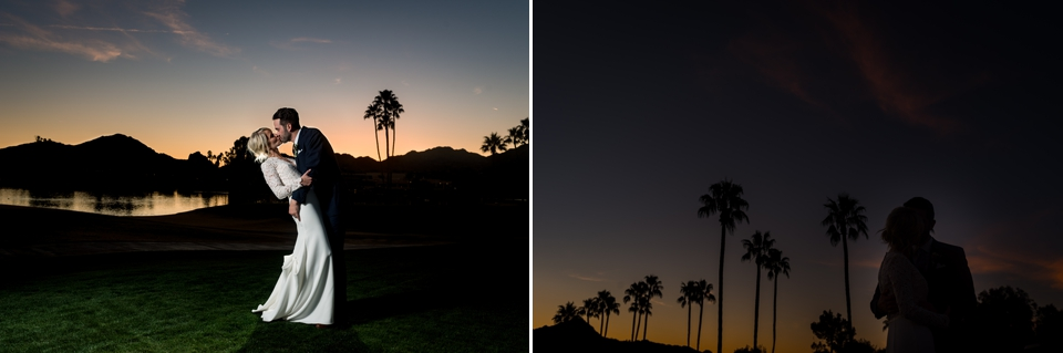 Sunset bride and groom photos for their McCormick Ranch Golf Club Wedding
