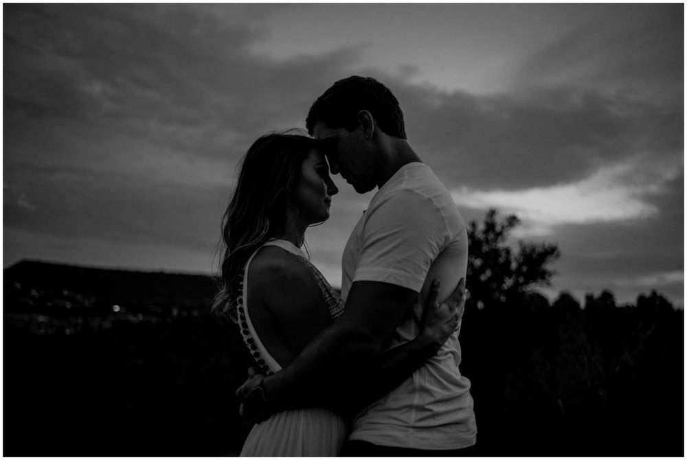 Dramatic Sedona Engagement Photos with Sedona Red Rock Mountains in the background.