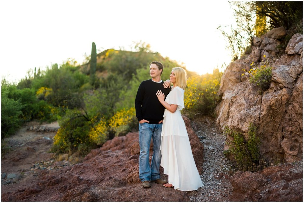 Sunset Salt River Engagement Photos in the Arizona Desert by Saguaro Lake.