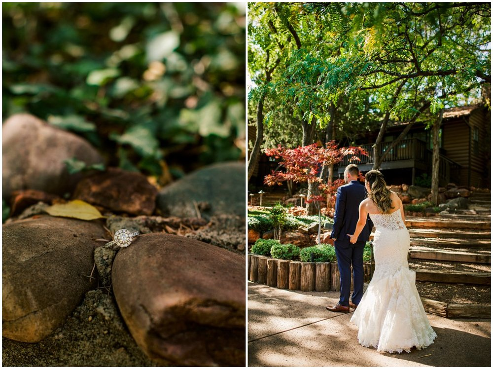 L'Auberge de Sedona Fall Navy and Maroon Wedding Photos in Sedona, Arizona.