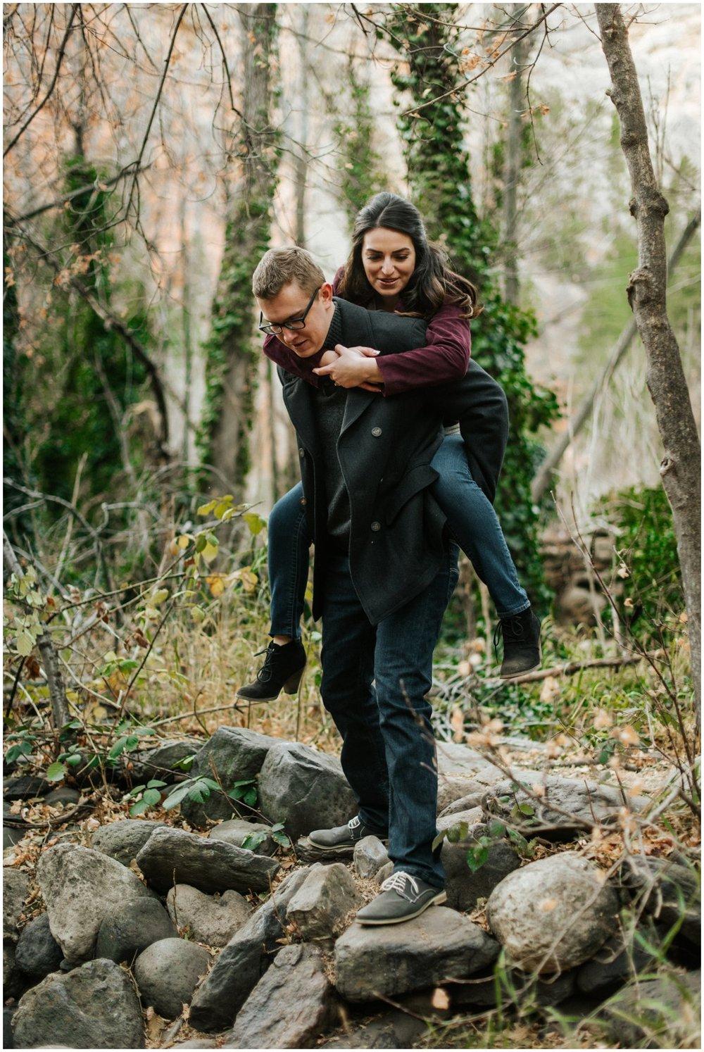 Fun Engagement Photos in Sedona, Arizona during Winter.