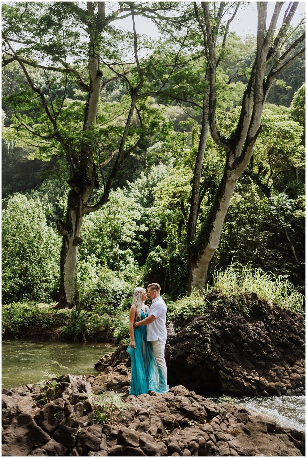 Epic Engagement Photos with a Waterfall in Hawaii