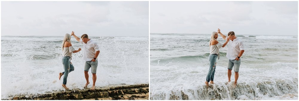 Hawaii Sunrise Beach Engagement Photos