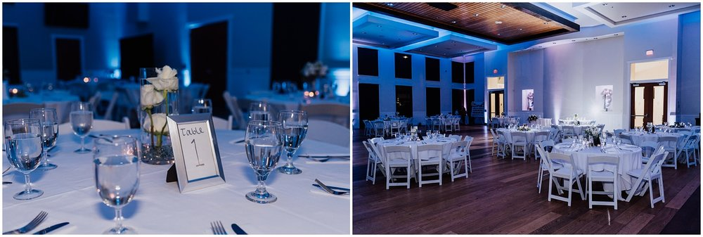 Blue Uplighting for Dramatic Reception at the Falls Event Center