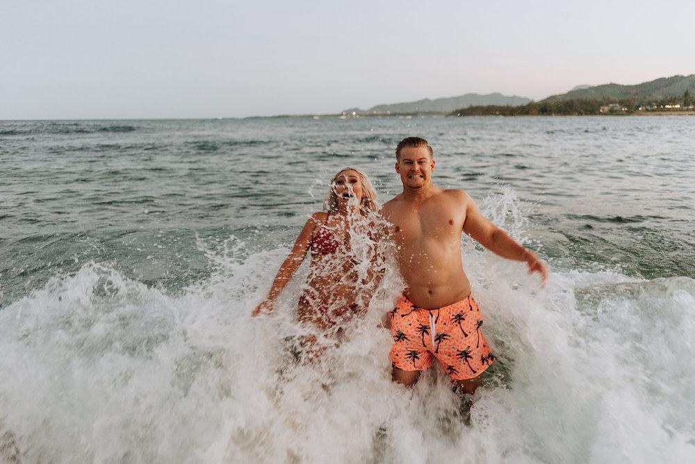 Beach Engagement Photos in the Ocean
