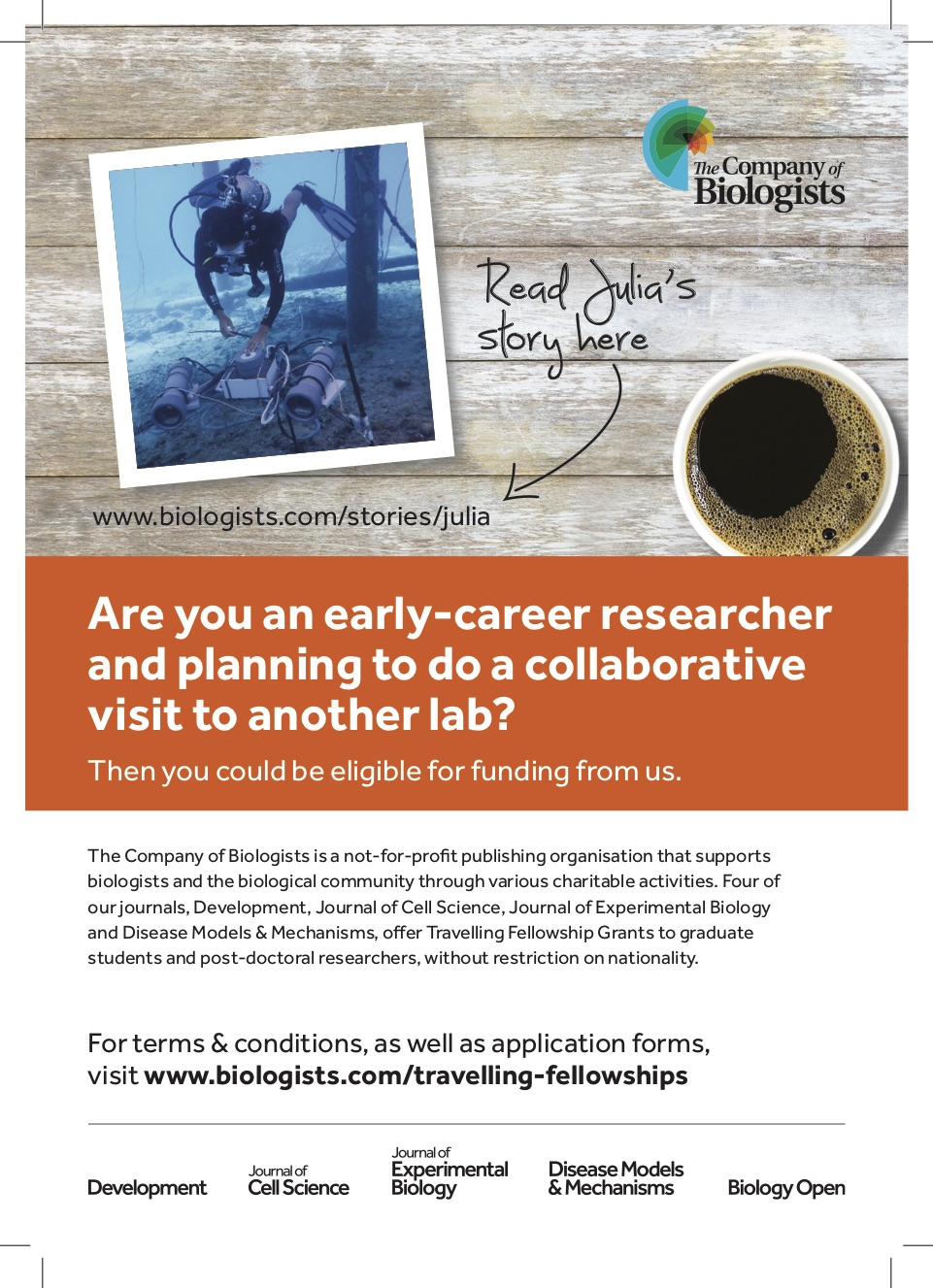 Starring in the Company of Biologists' ad!