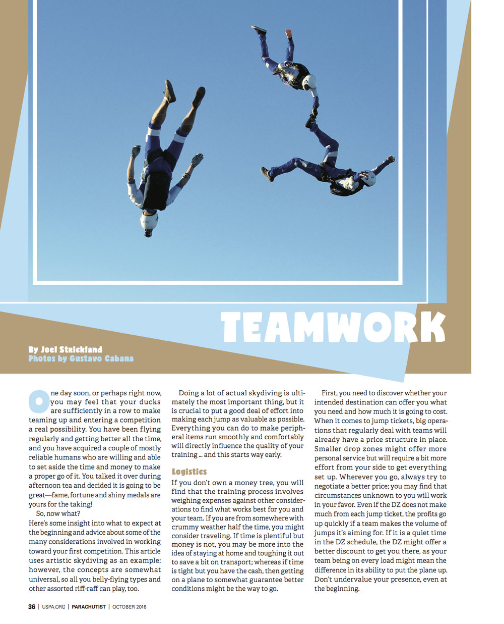 Teamwork   Parachutist   November 2016
