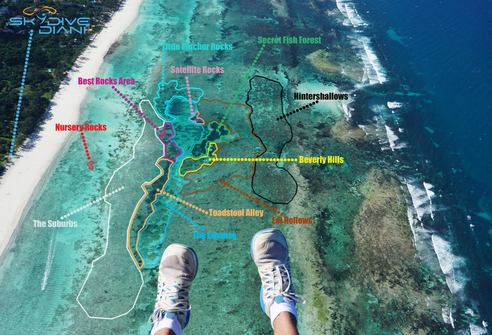 skydive diani snorkel map