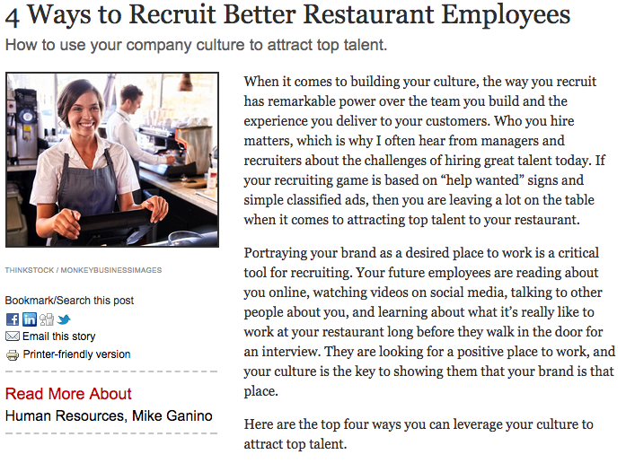 4 Ways to Recruit Better Employees - Are you thinking like a marketer to attract the best talent to your team? Check out these 4 ideas from my QSR Magazine article to improve your recruiting results.
