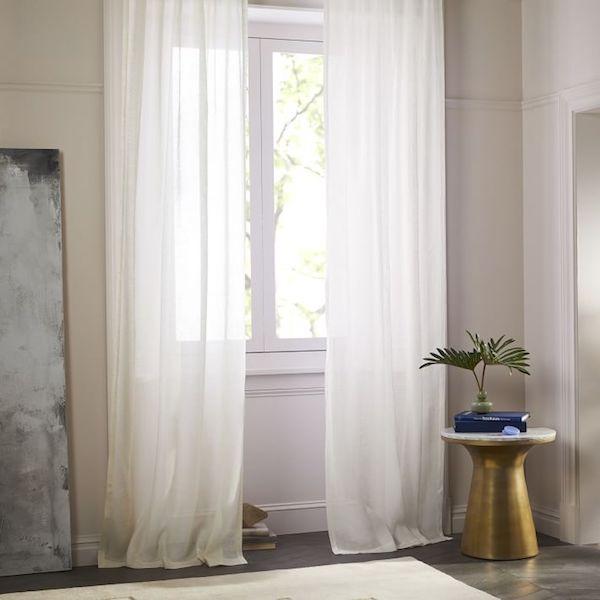 Sheer Belgian Flax Linen Curtain in Ivory (West Elm)