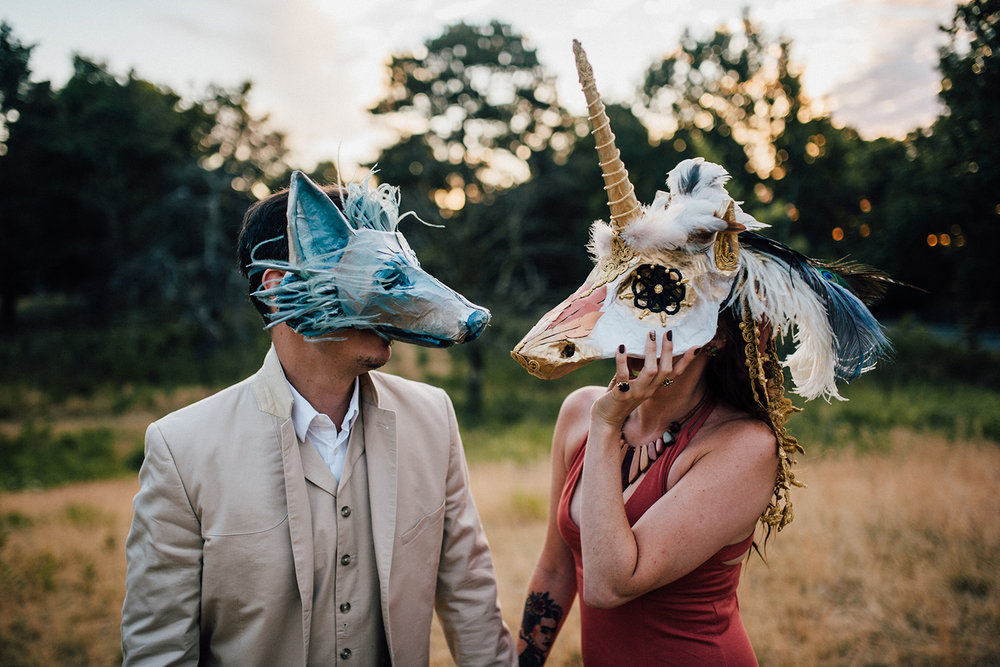 YVAN + ROBYN at dawn wearing their Totem masks. Photo by Liat Aharoni, 2016