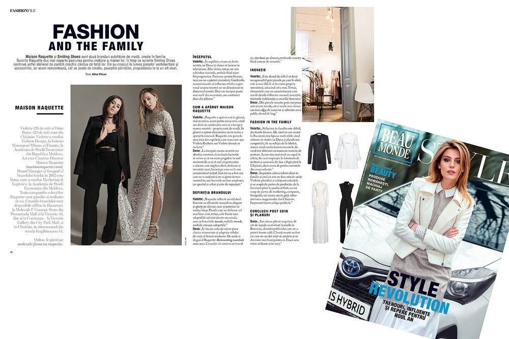 Interview with the RAQUETTE sisters in Beaumonde Style magazine (Romania)
