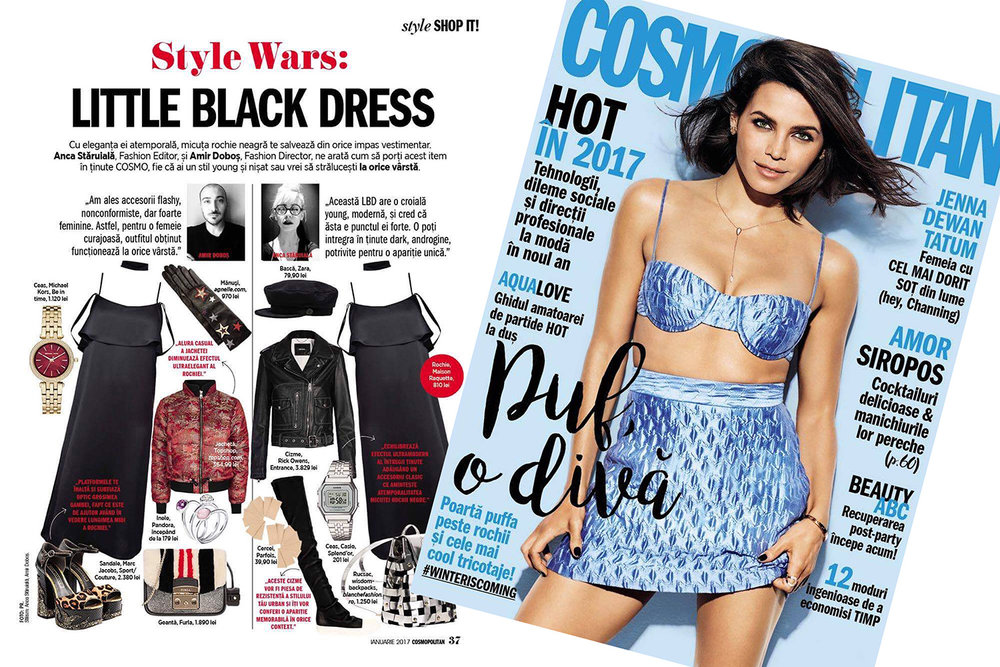 RAQUETTE Little Black Cami Dress featured in COSMOPOLITAN January 2017 issue