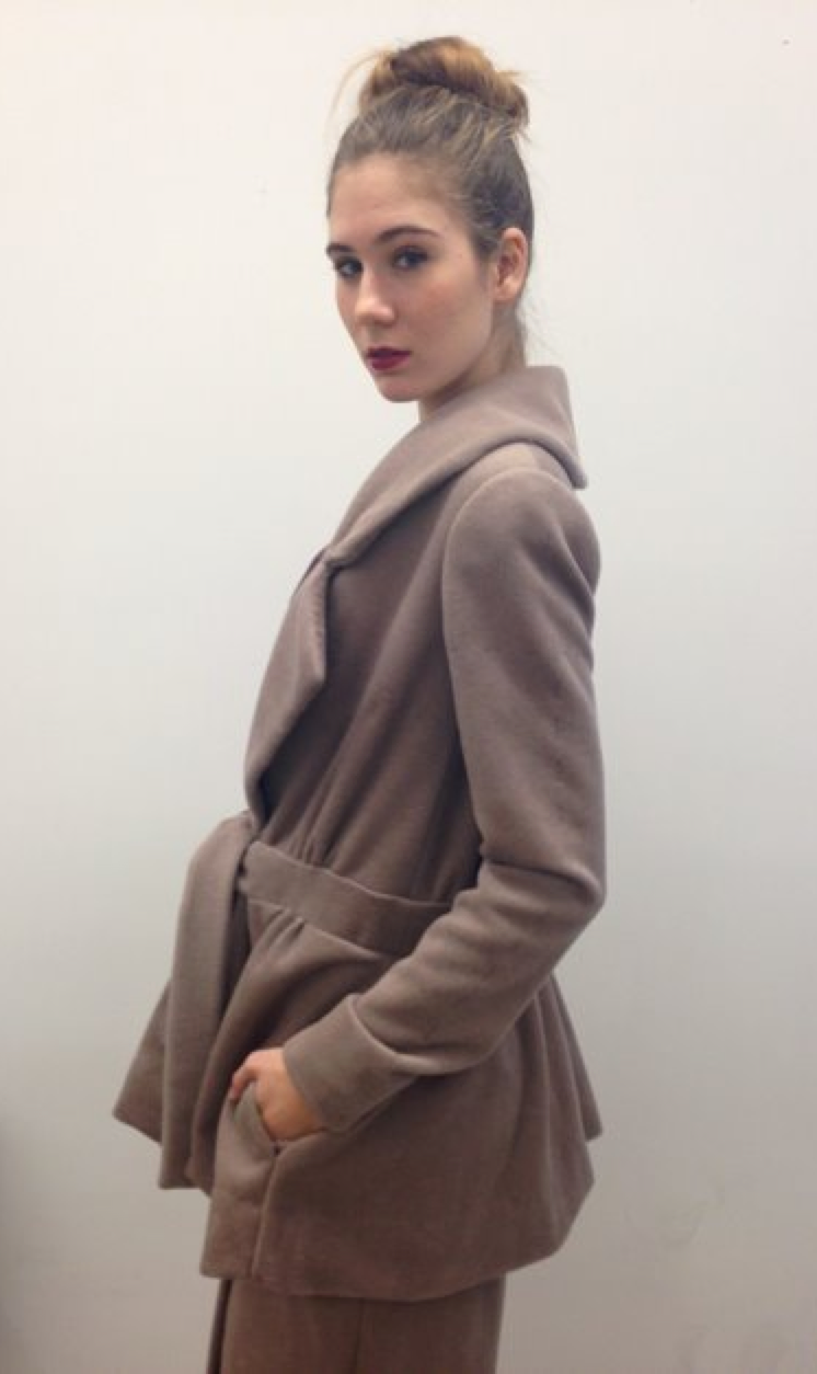 "Feminine Taupe Suit Coat   Inspired by 1940's women's suit ""sets"", this novel garment is one piece, with details including oversized lapels, a deep-V neckline, and a belted waist.   wool cashmere blend"