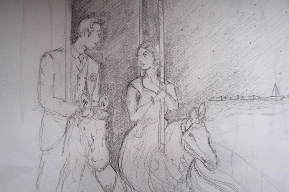 Amanda Bathory Merry go round cardiff bay illustration first draft wedding sketch.jpg