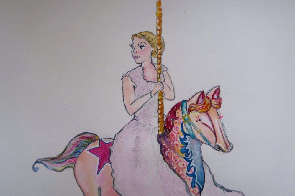 Amanda Bathory Merry go round cardiff bay illustration bride wedding.jpg
