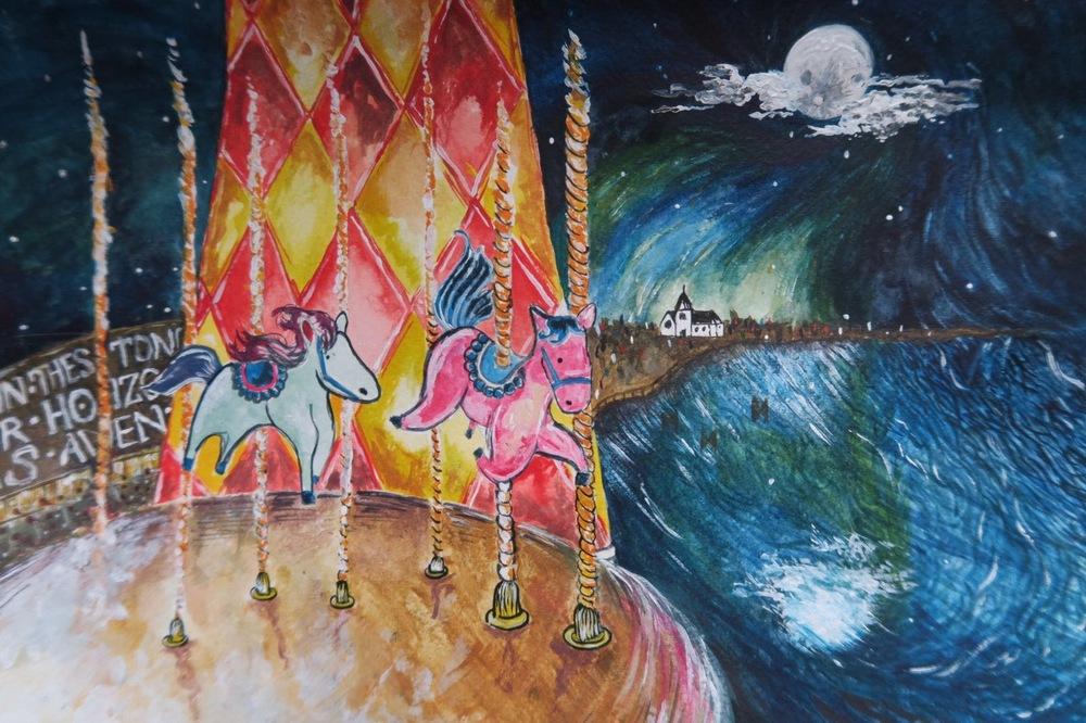Amanda Bathory Merry go round cardiff bay illustration wedding gift.jpg