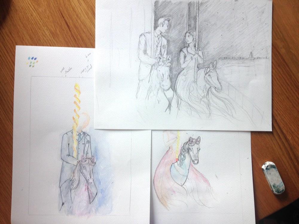 Amanda Bathory Merry go round cardiff bay illustration first sketeches.jpg