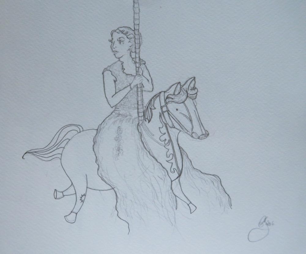 Amanda Bathory Merry go round cardiff bay illustration bride first sketch.jpg