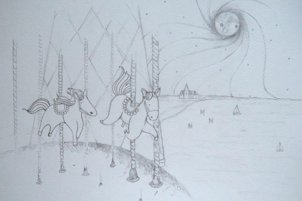 Amanda Bathory Merry go round cardiff bay illustration background first sketch.jpg